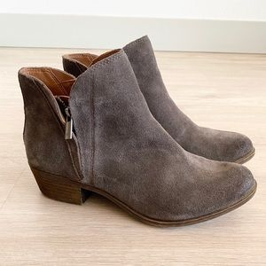 Lucky Brand Suede Double Zipper Ankle Boots Brenon